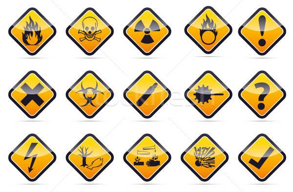 Stock photo: Danger round corner warning sign set