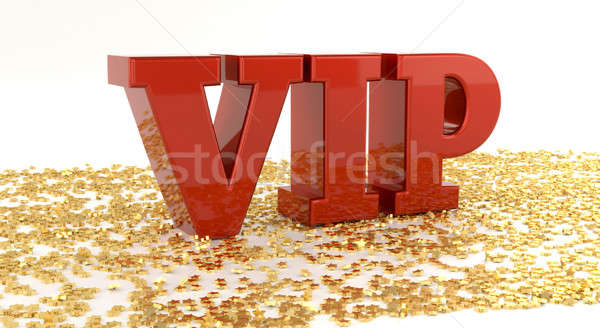 VIP - Red text on gold stars - High quality 3D Render Stock photo © akaprinay