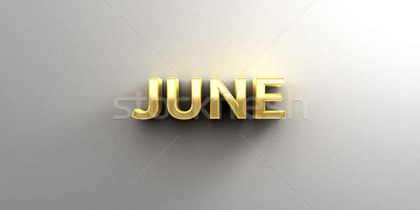 Stock photo: June month gold 3D quality render on the wall background with so