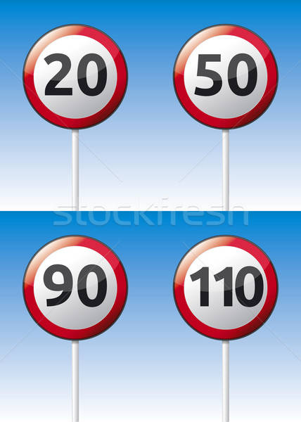 Stock photo: Speed limit traffic road board