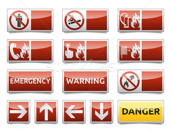 Gevaar klein ingesteld geïsoleerd waarschuwing Stockfoto © akaprinay
