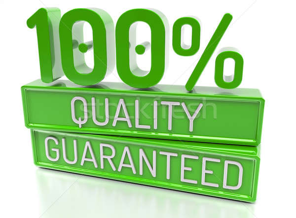 100% Quality Guaranteed, 100 percent, 3d banner - isolated, on w Stock photo © akaprinay