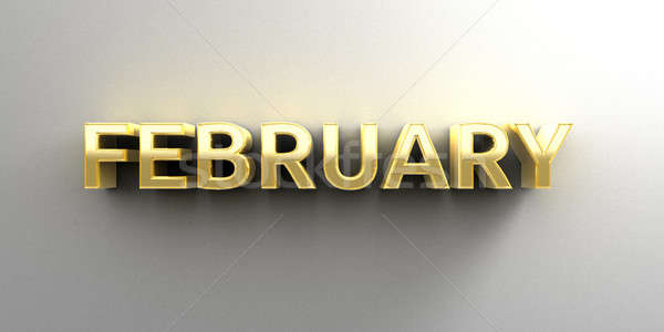 February month gold 3D quality render on the wall background wit Stock photo © akaprinay