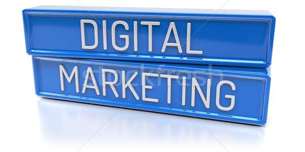Digitale marketing 3d render Blauw banners tekst Stockfoto © akaprinay