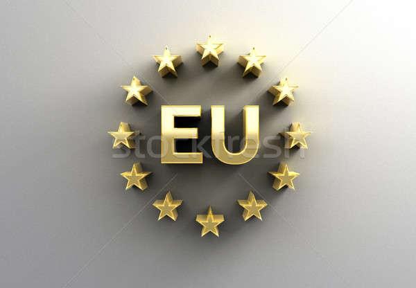 Ue signo estrellas oro 3D calidad Foto stock © akaprinay