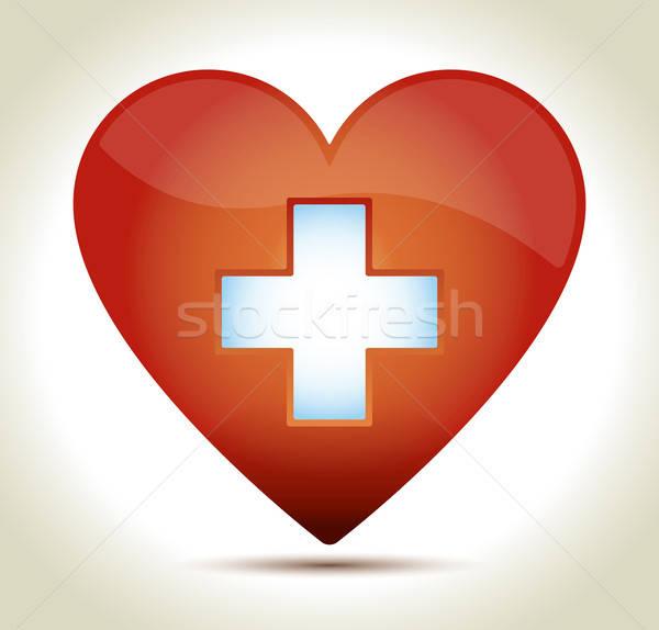 Glanzend Rood hart witte kruis schaduw Stockfoto © akaprinay