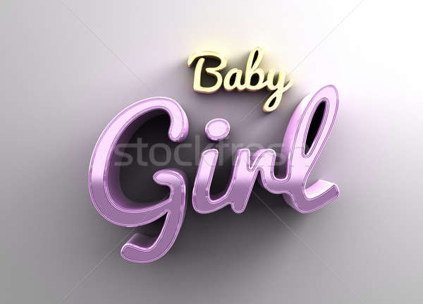 Baby girl - gold and pink 3D quality render on the background wi Stock photo © akaprinay
