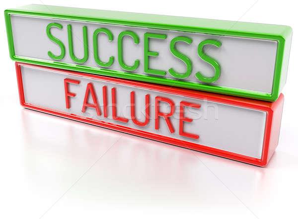 Succes mislukking geïsoleerd 3d render groene Rood Stockfoto © akaprinay