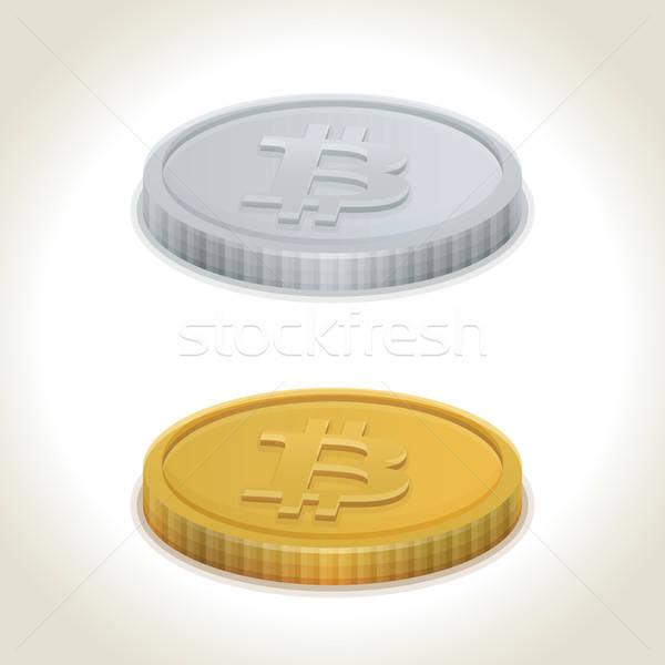 00234-bitcoin-silver-coins Stock photo © akaprinay