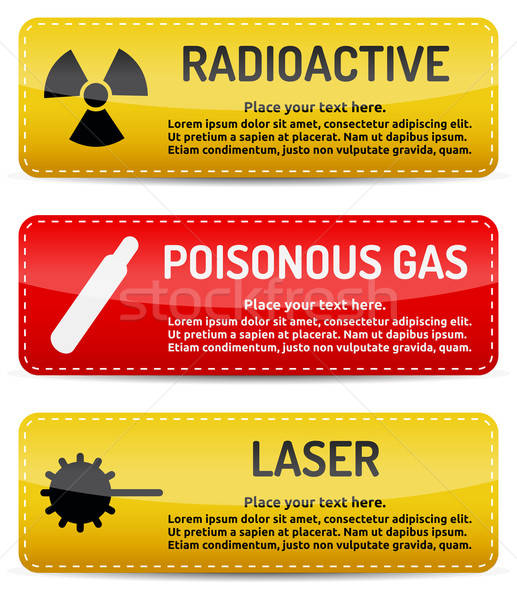 Radioactive, Poisonous Gas, Laser - Danger sign set Stock photo © akaprinay