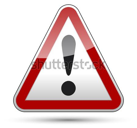 Exclamation mark danger triangle Stock photo © akaprinay