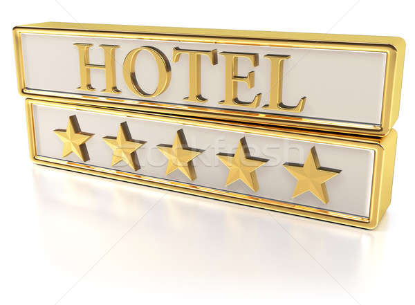 Hotel - Five gold stars Stock photo © akaprinay