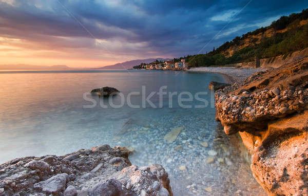 пляж рыбалки деревне южный Греция пейзаж Сток-фото © akarelias