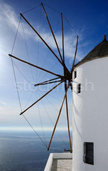 Foto stock: Moinho · de · vento · santorini · imagem · grande · grego · ilha