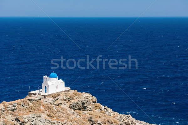 Küçük kilise Yunanistan ada kilise seyahat mimari Stok fotoğraf © akarelias