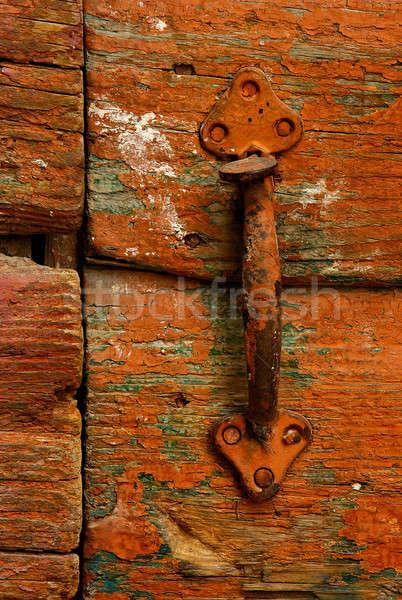 Drzwi uchwyt obraz zardzewiałe wysoko Zdjęcia stock © akarelias