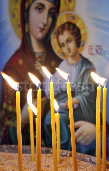 Mumlar Hristiyan ortodoks kilise ikon bakire Stok fotoğraf © akarelias