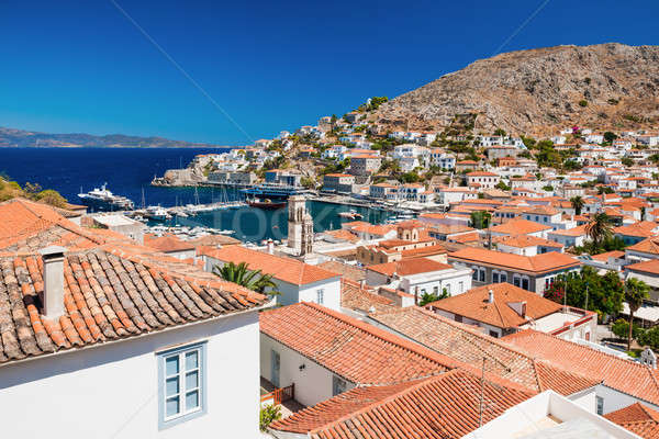 Overview of the island of Hydra, Greece Stock photo © akarelias