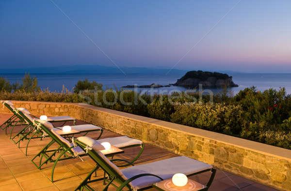 Groot avond foto Grieks mensen Stockfoto © akarelias