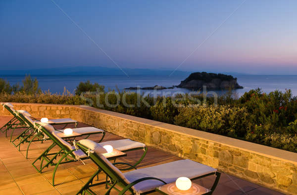 Muhteşem görmek akşam resim Yunan insanlar Stok fotoğraf © akarelias