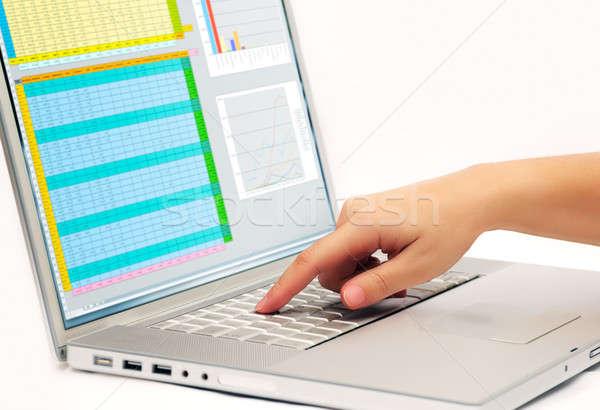 Laptop kluczowych obraz palec współczesny Zdjęcia stock © akarelias