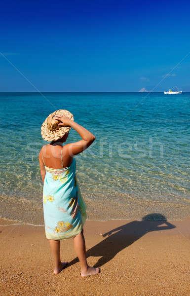 Mulher jovem chapéu de palha olhando profundo azul em pé Foto stock © akarelias