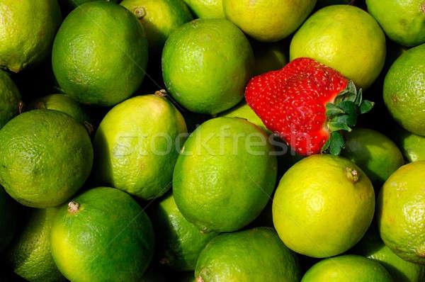Foto stock: Limões · morango · imagem · padrão · fruto · verde
