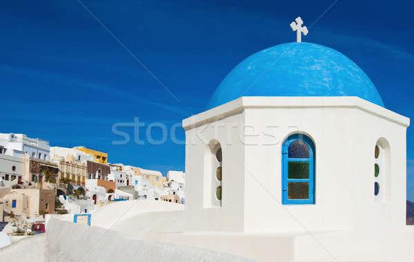 Greek chapel in Santorini Stock photo © akarelias