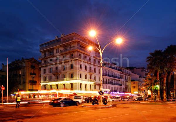Centro da cidade cedo cidade árvores edifícios urbano Foto stock © akarelias