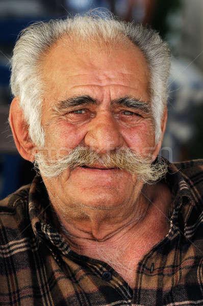 Kıdemli Yunan adam büyük bıyık portre Stok fotoğraf © akarelias