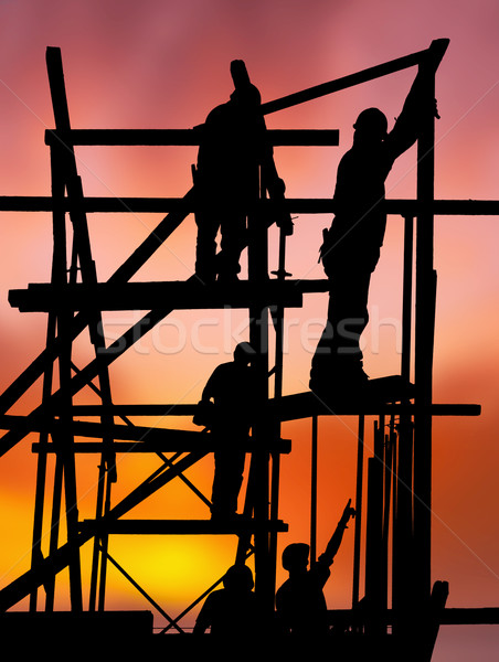 Budowy pracowników kolorowy wygaśnięcia sylwetka pracy Zdjęcia stock © akarelias