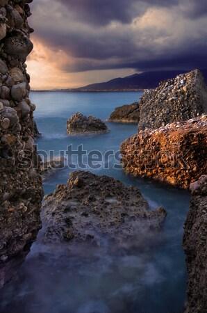 Tengeri kilátás kép szeles késő délután víz Stock fotó © akarelias