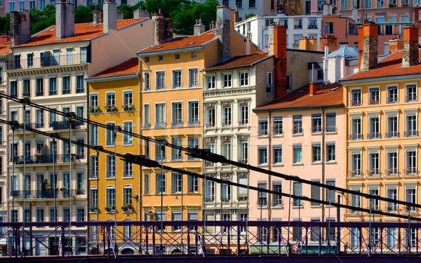 Mieszkaniowy budynków Lyon Francja obraz kolorowy Zdjęcia stock © akarelias