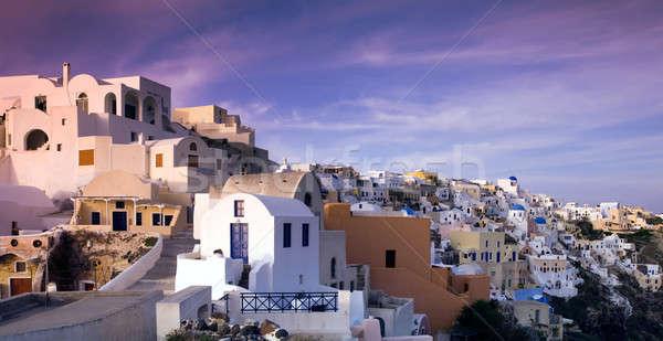 Délután kép falu festői sziget Santorini Stock fotó © akarelias