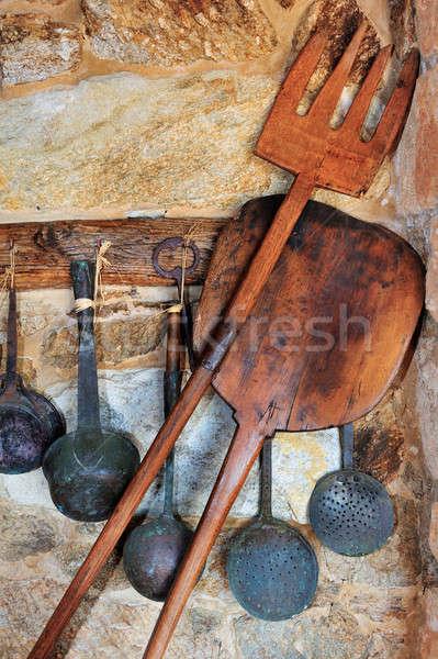 Geleneksel fırın pişirme resim taş duvar Stok fotoğraf © akarelias