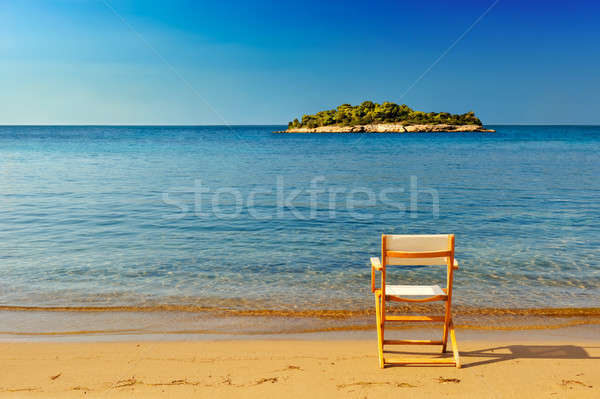 Krzesło plaża piaszczysta oferowanie miejsce cieszyć się widoku Zdjęcia stock © akarelias
