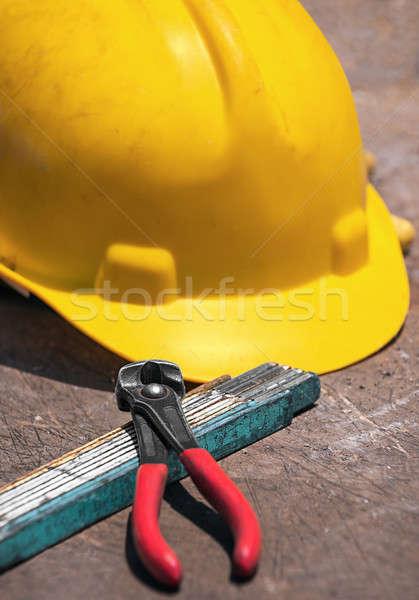 строительство инструменты деревянный стол шлема сложенный правителя Сток-фото © akarelias