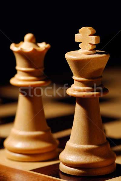 Kral kraliçe görüntü beyaz satranç kral satranç Stok fotoğraf © akarelias