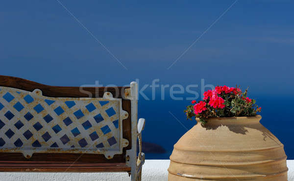 Spokój obraz ławce puli kwiaty wyspa Zdjęcia stock © akarelias