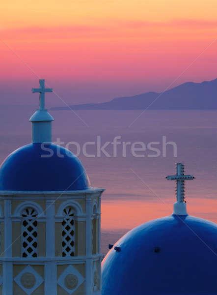 şafak santorini adası görüntü iki kilise tipik Stok fotoğraf © akarelias