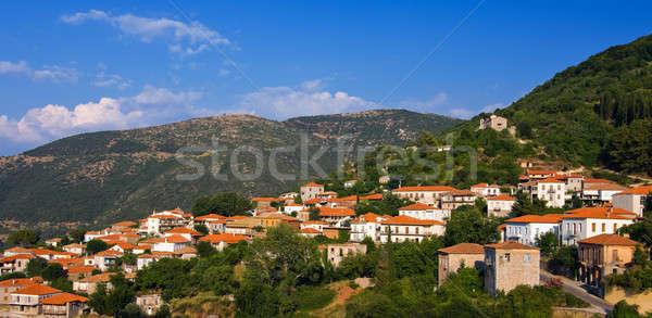 Grecki górskich w. zdjęcie góry drzew Zdjęcia stock © akarelias