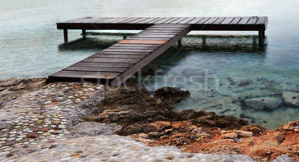 Zdjęcia stock: Molo · zdjęcie · morze · Śródziemne · świcie · kamienie