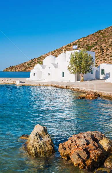 Capela mar ilha Grécia verão igreja Foto stock © akarelias