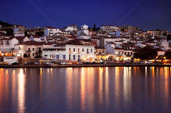 Miasta Grecja południowy morza noc architektury Zdjęcia stock © akarelias