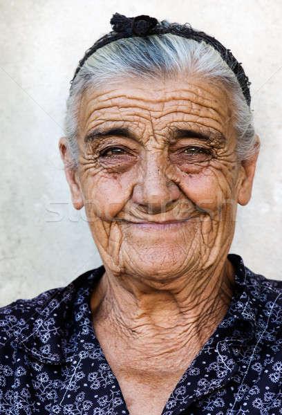 счастливым старушку изображение деревне Греция женщину Сток-фото © akarelias