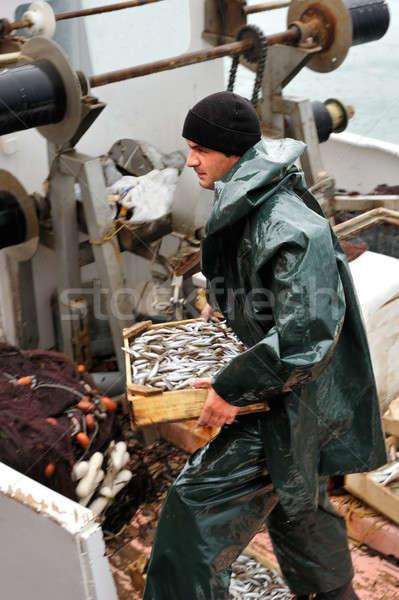 Foto stock: Pescador · caixa · peixe · jovem · conselho
