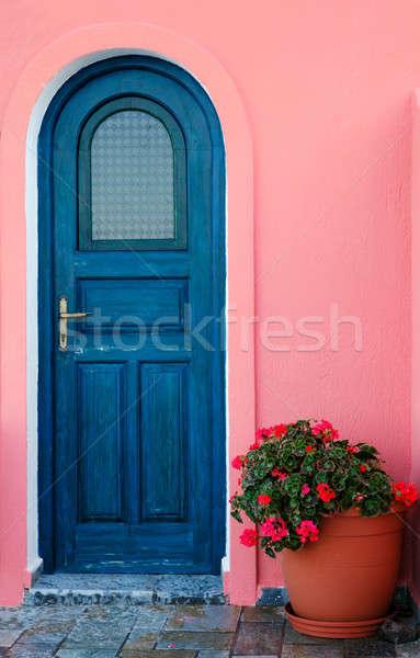 Azul porta grego ilha imagem tradicional Foto stock © akarelias