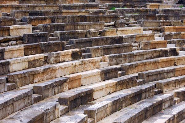 Szczegół starożytnych grecki teatr sekcja budowy Zdjęcia stock © akarelias