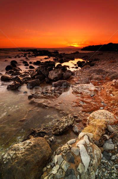 Rocky seascape sunset Stock photo © akarelias