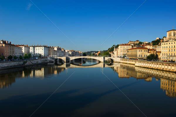 Cidade Lyon França imagem rio corrida Foto stock © akarelias